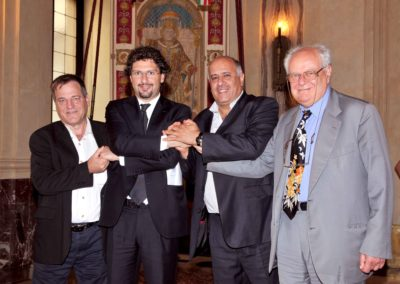 2008. Boaz Karmi, Direttore Esecutivo ECF, Manfredi Palmeri, Presidente del Consiglio comunale di Milano, Jibril Rajoub, già capo dei servizi di sicurezza palestinesi e Janiki Cingoli.
