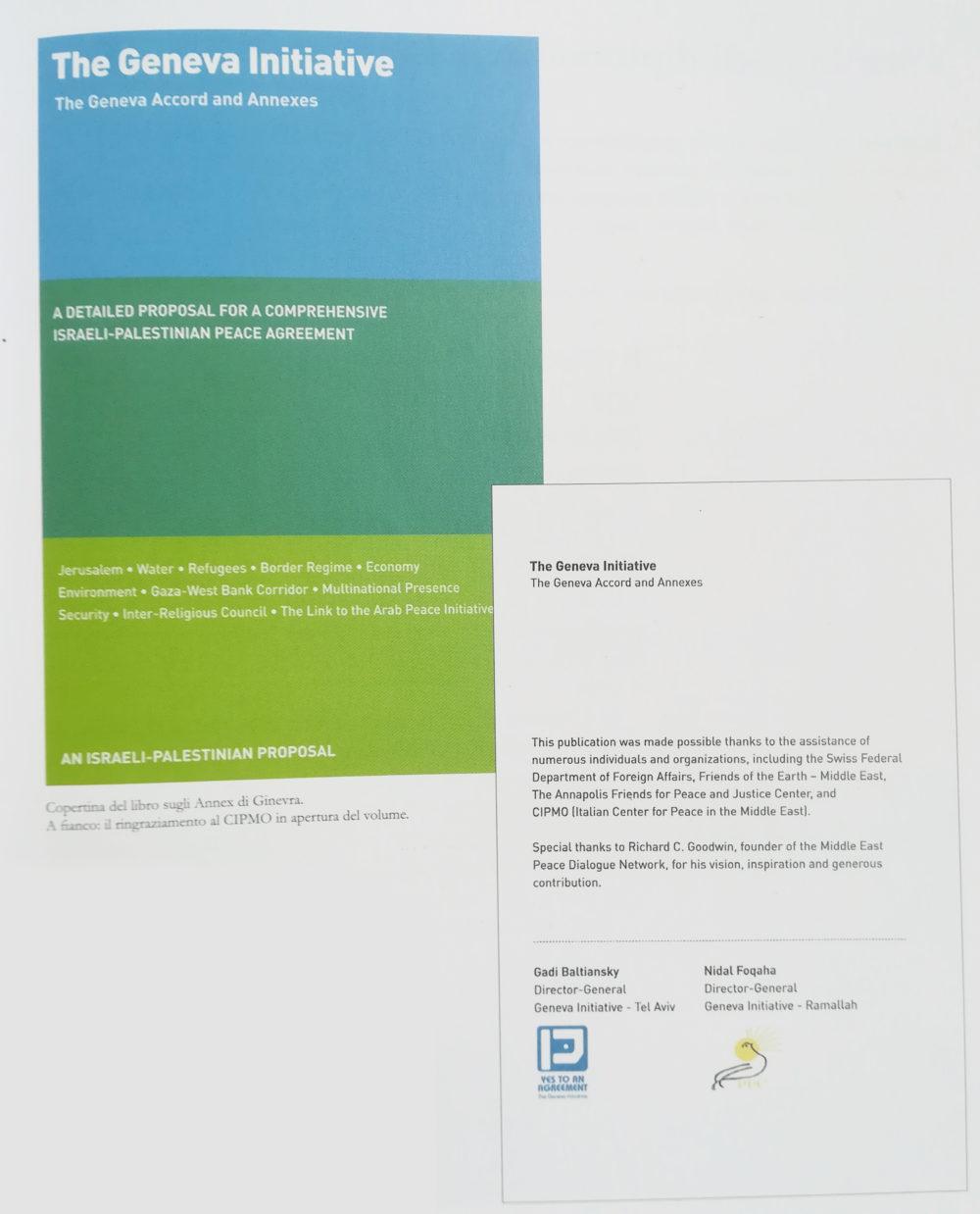 """Worshop di Torino """"Alla ricerca dell'Annex mancante"""", 4-7  dicembre, 2008. Nella foto:  Volume sugli Accordi di Ginevra completo degli Annex, ringraziamento al CIPMO in apertura del volume."""