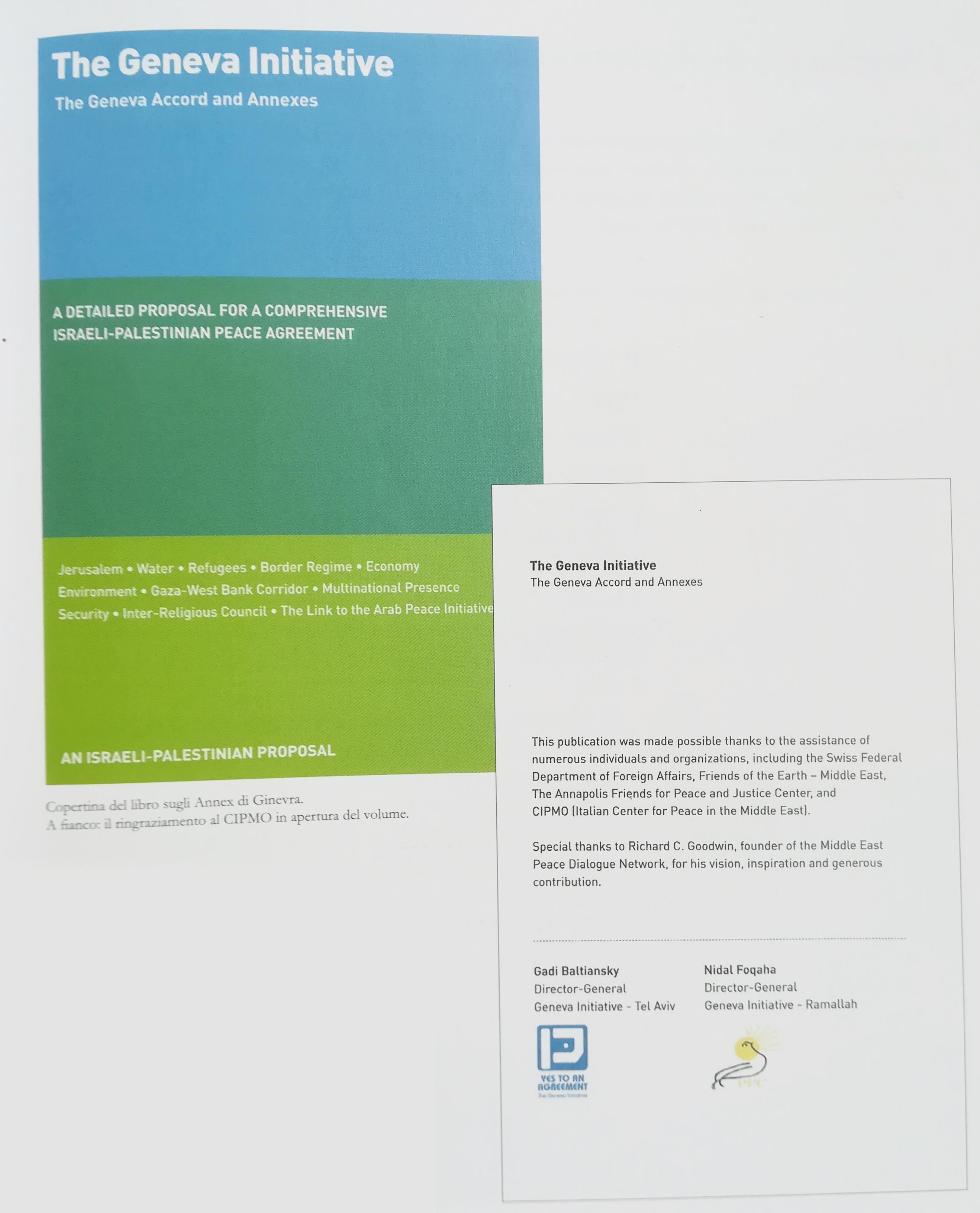 Libro sugli Accordi di Ginevra e  ringraziamento al CIPMO in apertura del volume