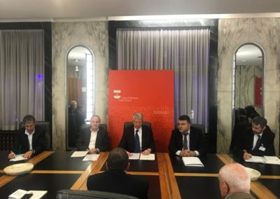 Incontro della delegazione con il sindaco di lingua italiana Renzo Caramaschi, e il vice-sindaco di lingua tedesca Christoph Baur presso il Municipio della città.