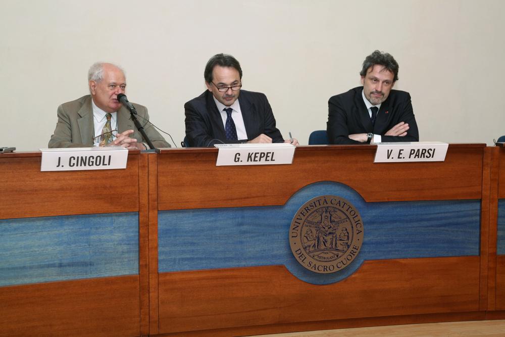 Cattedra del Mediterraneo 2008. 3 aprile  Gilles Kepel, janiki Cingoli, Vittorio Emanuele e Parsi