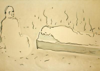 sogno del fuoco, 2010, tecnica mista su tela, cm, 310x540