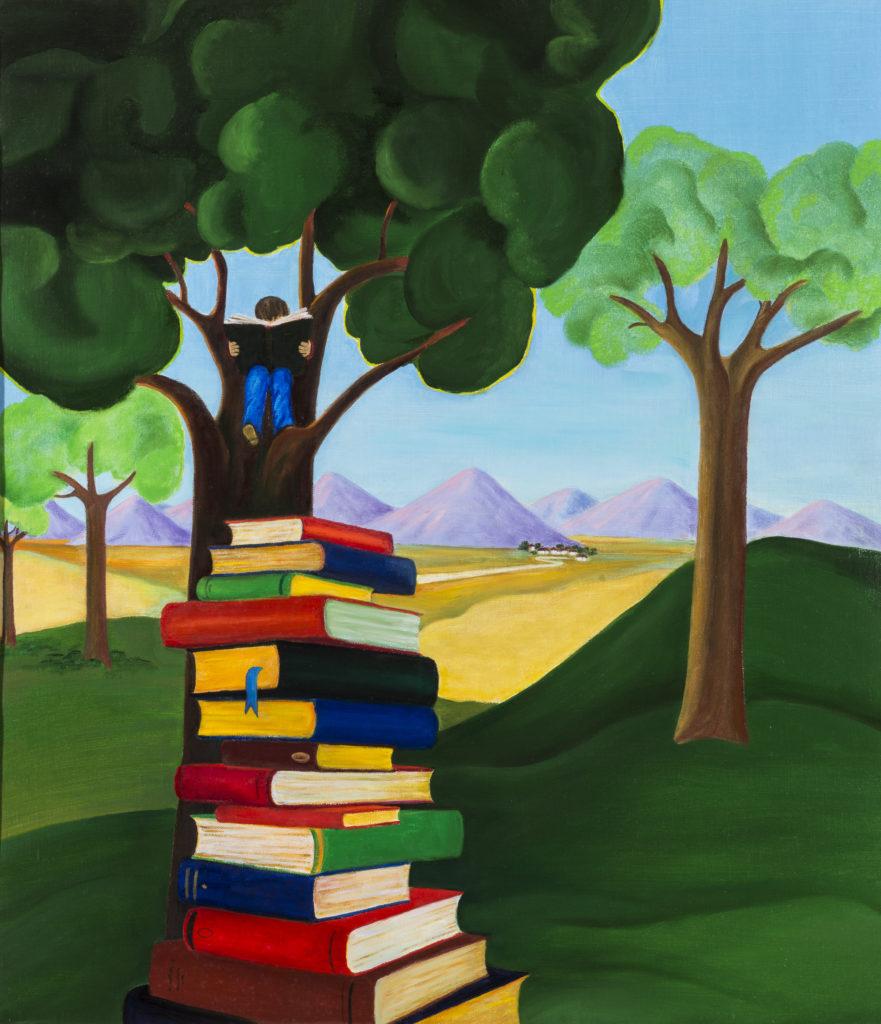 Alda Maria BOSSI, Con un libro, tra i rami, 2018, Olio su tela, cm 89x77
