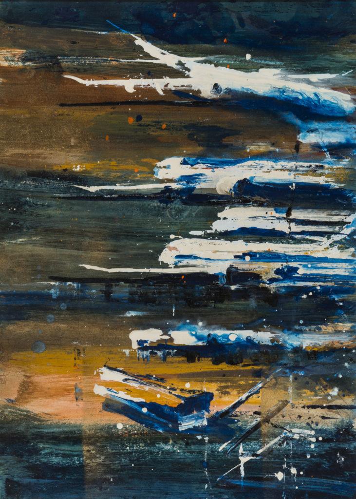 Alessandro BUSCI, Aeroporto_sera, 2017, Smalto su carta, cm 70x50