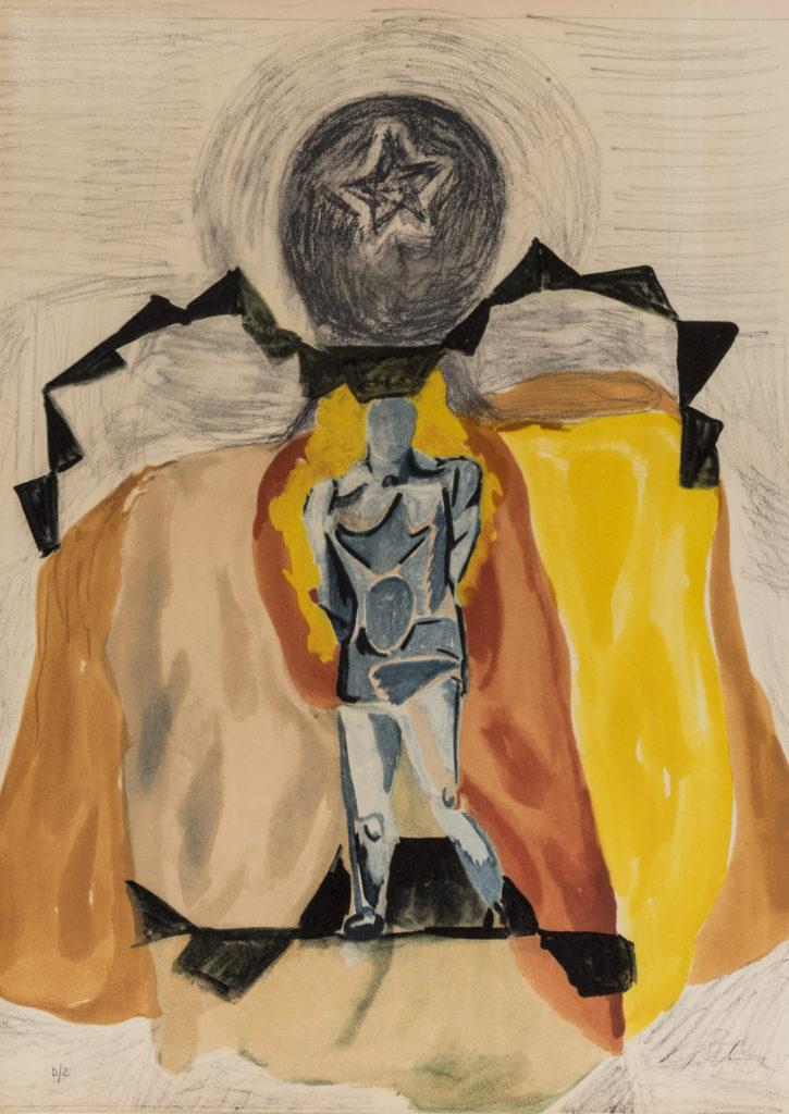Sandro CHIA,Il campione, 1990, Litografia, cm 75x54