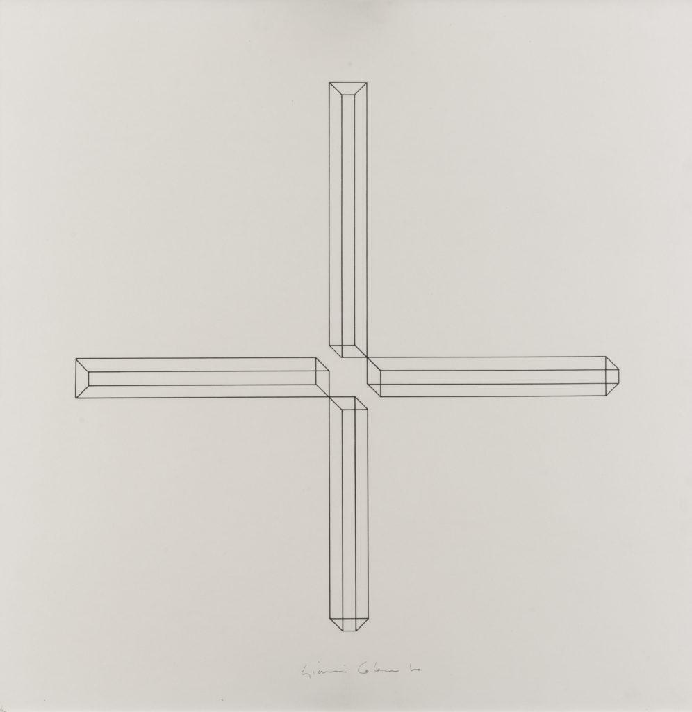 Gianni COLOMBO, Courtesy: Giorgio Marconi, Senza titolo, 1975, e/semplare 62/70 + p.d.a., Litografia su carta, 2 colori Ed. Studio Marconi, cm 60x60