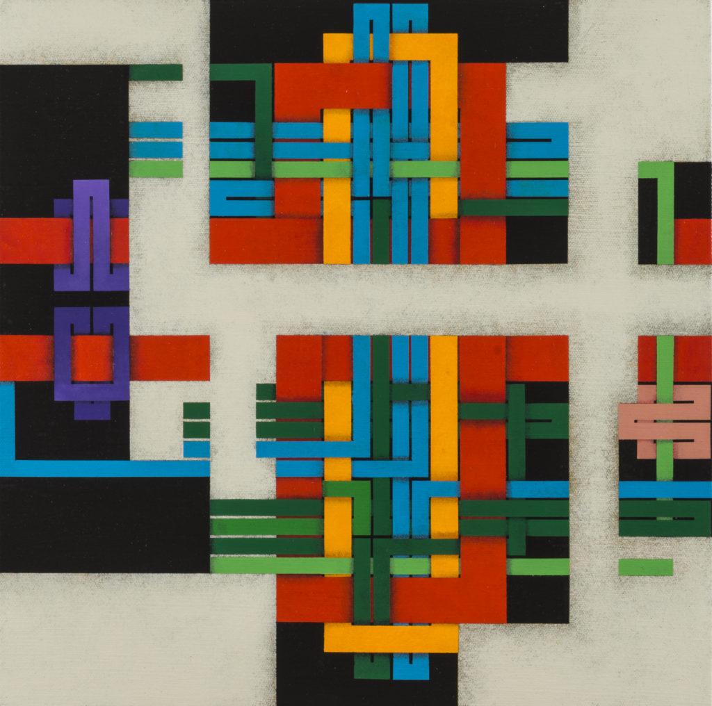 LucianoDE LIBERATO, In costruzione (Labirinto), 2019, Acrilico su tela di lino su tavola di pioppo, cm40x40