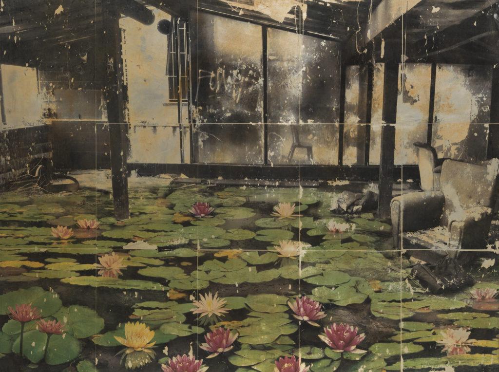 Loris DI FALCO, Le ninfee abitano la casa di vetro, 2015, Stampa a contatto su alluminio, cm 75x100