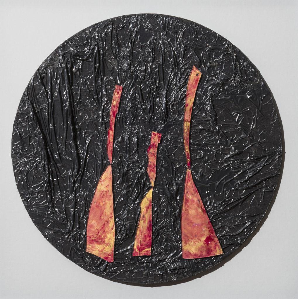 Rosa Maria FALCIOLA, La forza della ragione, 2018, Vetri dipinti in tecnica mista su cartone, cm 46x46