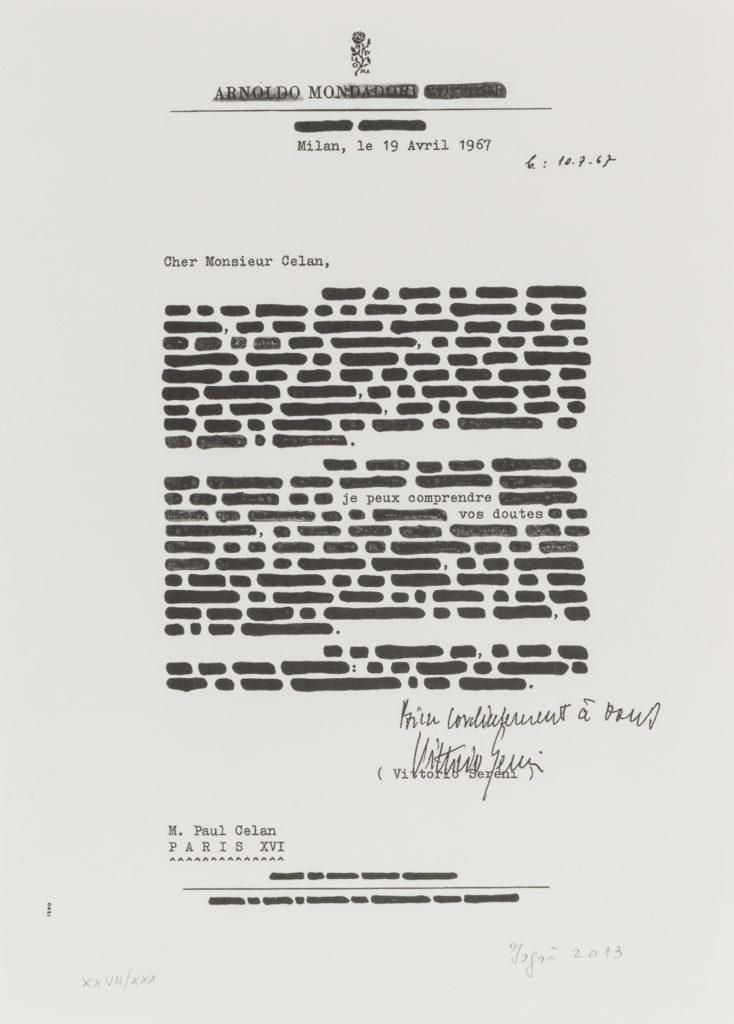 Emilio ISGRÒ, Lettera di Paul Celan, 2013, esmeplare 27/30, Litografia, cm 30x21