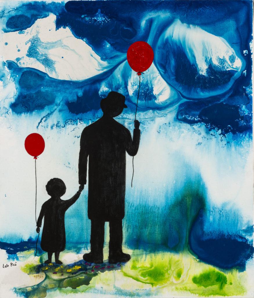 Lele PICÀ, Blu infinito e Oltre, 2019, Mista su tela, cm 70x60