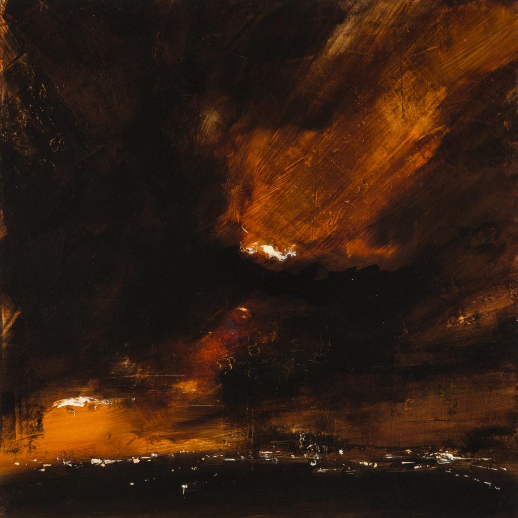 Tom PORTA, Red storm, 2019, Olio su tela, cm 40x40