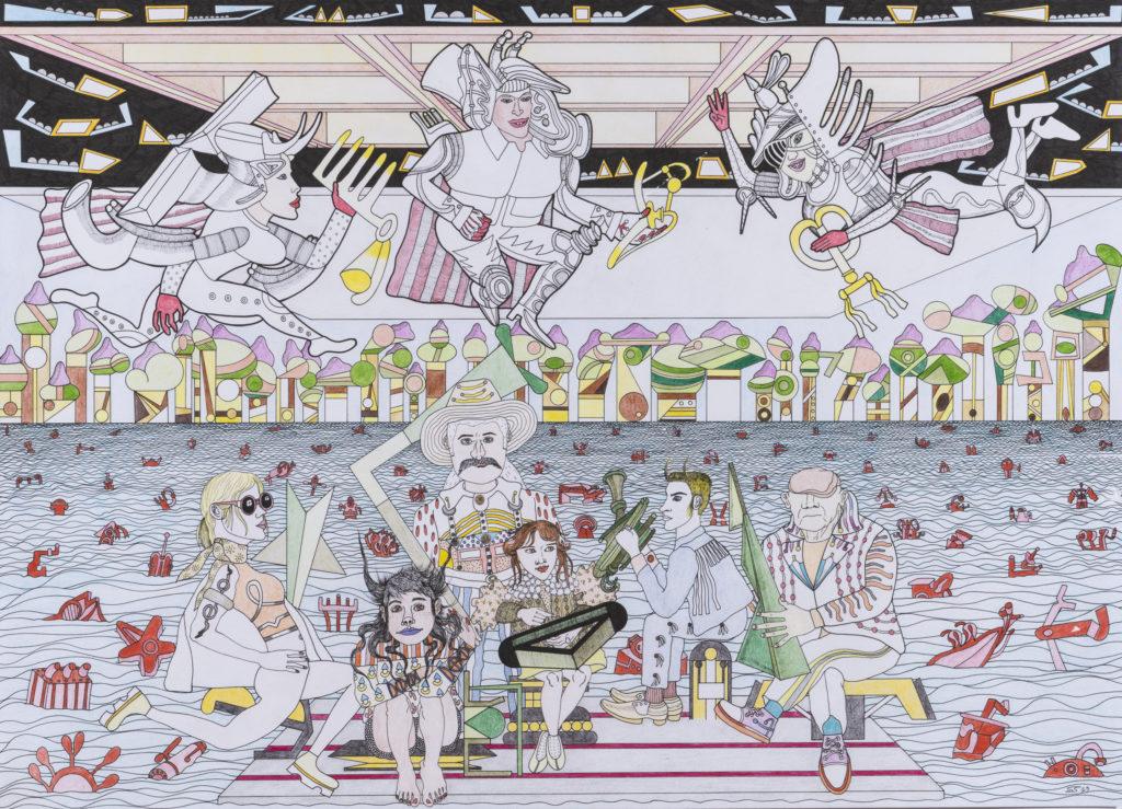 SCIMON, I coraggiosi del pensiero unico, 2019, Matita, pennino, matite colorate su carta, cm 50,5x70