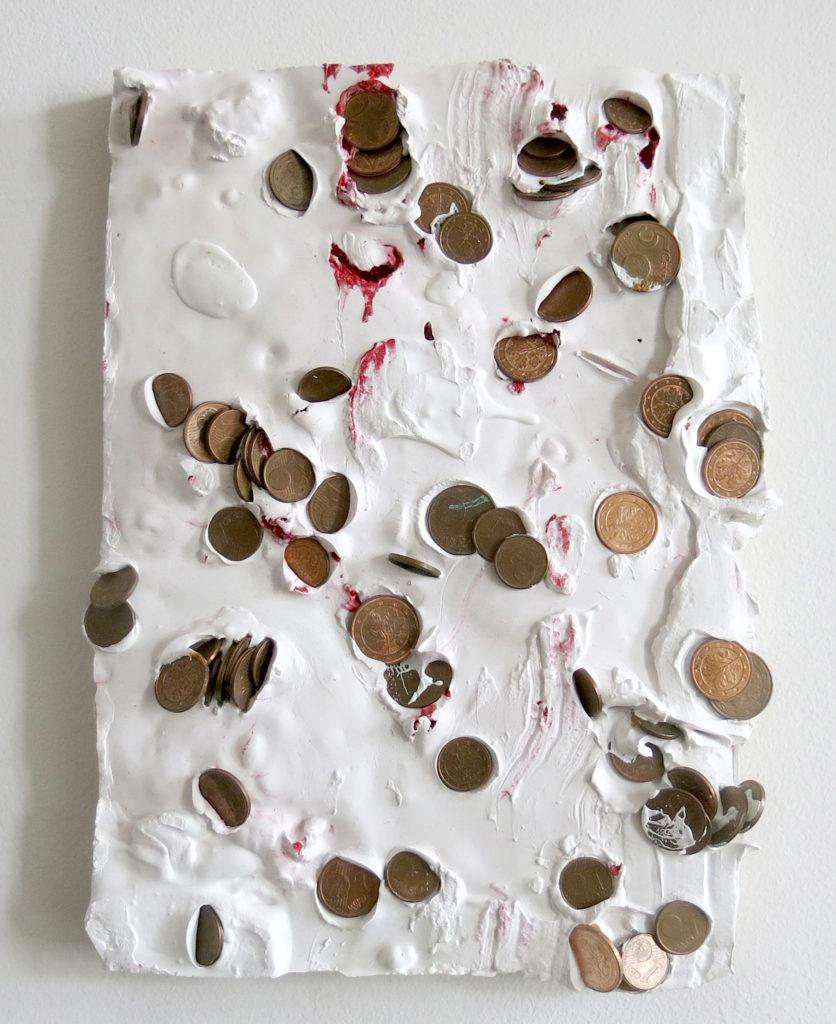 Lapo SIMEONI, Money Chalk, 2019, Gesso, monete, pigmenti, applicati su multistrato, cm 27x19